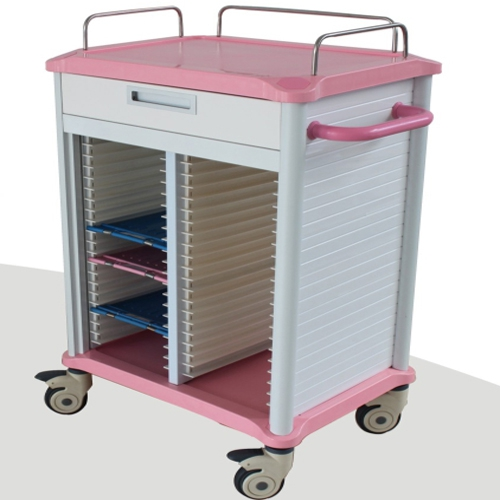 ZL® BB20R Dental Records Cabinets Medical Lab Use Pink Rolling Trolley Cart