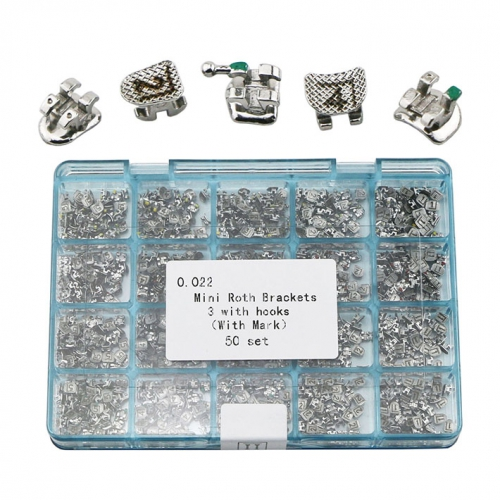 50Sets Dental Orthodontic Metal Brackets Braces Mini Roth 022 3 Hooks Laser Mark