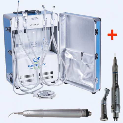 Greeloy® GU-P204 Portable Unit + YUSENDENT® Handpiece Kit + Air Scaler