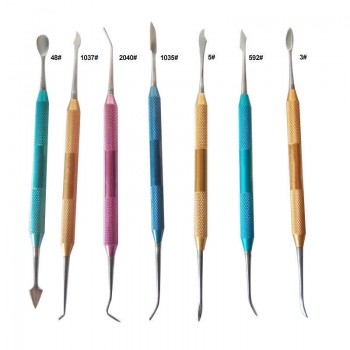 7Pcs Dental Lab Wax Plaster Carving Tool Set Stainless Steel Colorful Dentist