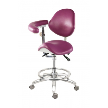 Medical Dentist Nurse Saddle Chair Luxury Mobile Doctors' Stool PU Leather QY-MA-L