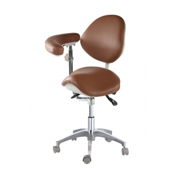 Medical Dentist Nurse Saddle Chair Adjustable Mobile Doctors' Stool PU Leather