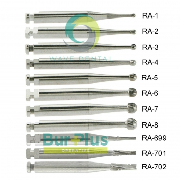 10Pcs/ 2 Packs Dental Operative Carbide Bur Round Taper Fissure Latch Midwest LA RA 22mm