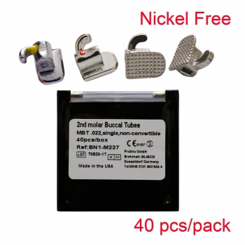 Orthodontic Nickel Free Buccal Tube Bonding Mini Roth MBT Slot 0.022 10 Kits/Lot