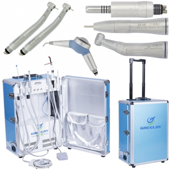 Greeloy® GU-P206 Portable Unit + High Speed Handpiece + Low Speed Handpiece + Dental Air Polisher