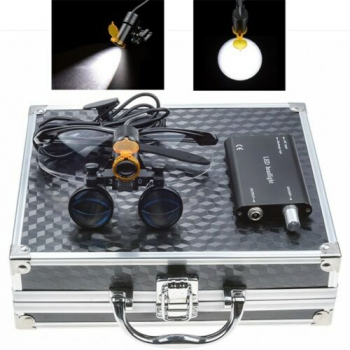 Dental 3.5X Binocular Loupes + 5W LED Head Light w/ Filter + Aluminum Box Black