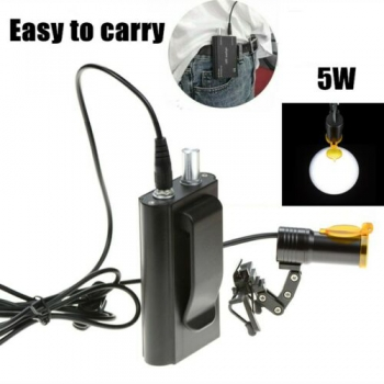 Dental Metal Clip-on 5W LED Head Light + Filter & Belt Clip for Glasses Black