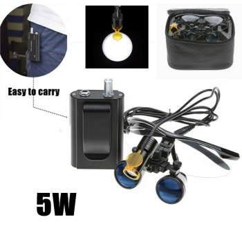 Dental 5W LED Head Light w/ Filter & Belt Clip + 3.5X Binocular Loupes Black