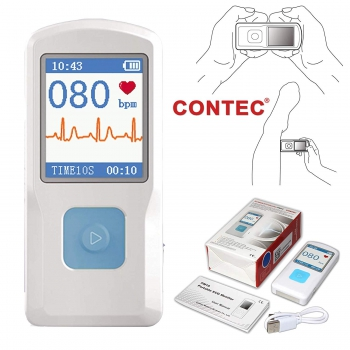 CONTEC Portable ECG/EKG Monitor PC Software Electrocardiogram Bluetooth Heart Ra...