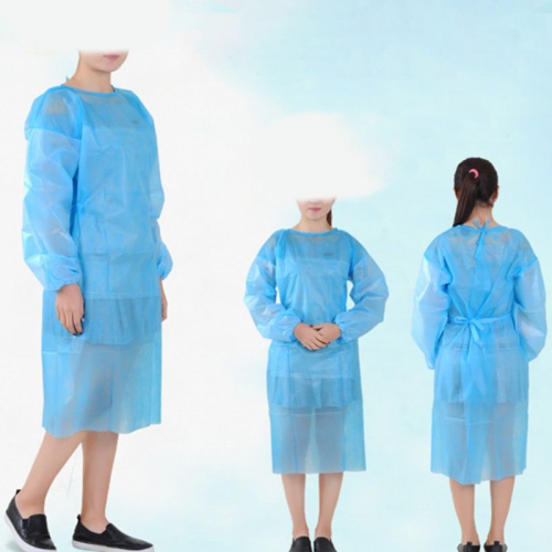 10 Pack Non-woven Blue Disposable Isolation Gown Protective Isolation Gown Clothing FluidResistant Impervious