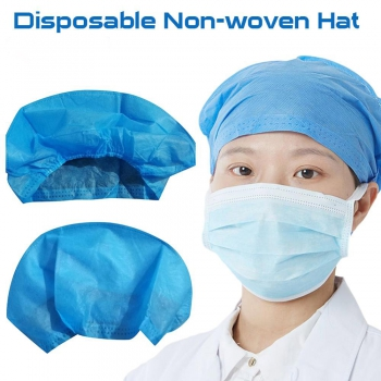 40Pcs Disposable Hair Head Cap Non Woven Anti Dust Hat Medical Food Supplies Set Blue Non-woven Bouffant Dustproof Caps