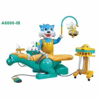 Pediatric Dental Chair Children Dental Unit with Dinosaur Chair &Smiling Cat Side Box A8000-IB