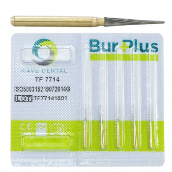 10Pcs Wave Dental Taper Fissure TF 7714 Burs Trimming & Finishing Carbide 12 Bla...
