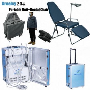 Greeloy GU-P204 Dental Portable Unit + GU-P101 Dental Chair + Storage Bag Kit