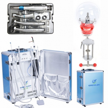 Greeloy GU-P206 Dental Portable Unit + LY LY-L201 Dental Handpiece Kit + Dental Manikin Phantom Head