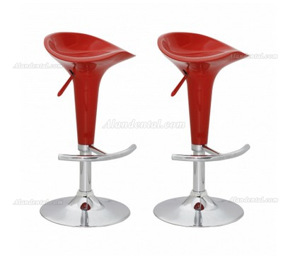 Bar stool design red ABS-plastic (set of 2)