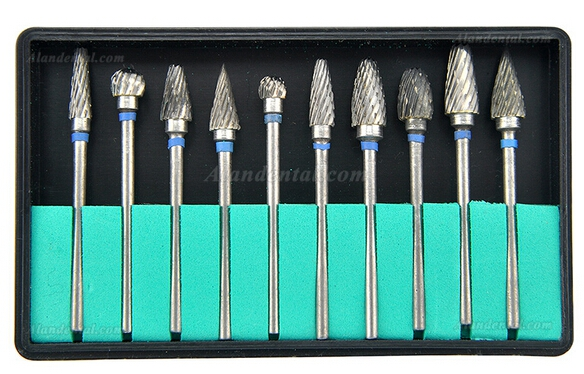 10 pcs Tungsten Steel Dental Burs Lab Tooth Drill For handpiece Polisher