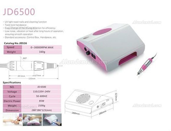 JSDA® JD6500 Electric Nail Drill Dust Collector & UV lamp 3 in 1 Micro Motor