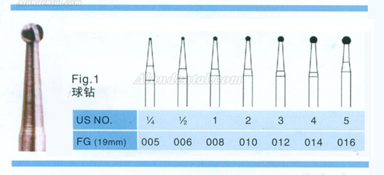 100PCS FG 1.6mm Carbide Burs