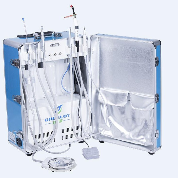 Greeloy® Portable Dental Unit with Air Compressor GU-P206 Features 1. Easy transported suitcase with pull-out handle and wheels, dentist may more the unit freely. 2. Compact astructure, self-contained bag for storage to save your space. 3. Consists of related operation system inside the dental treatment unit, such as air supply system, water supply system, suction and drainage. 4. Easy to set up and operate. Install the parts correctly and with correct power supply, control the unit with foot switch. 5. High quality motor with steady performance,solid box to ensure anti-fall, service time exceeds 20,000 hours. 6. Oil free motor without any lubricated oil, drainage bottle is convenient to remove and disinfect. 7.Warranty: 1 Years     specification Volt./HZ: 110V-240V 50/60Hz(right plug free to fit your country) Power: 600W Pressure: 0 -5Bar Nonise:48dB Dimensions: 430*320*630mm Weight: 24KG     Greeloy® Portable Dental Unit with Air Compressor GU-P206 Packge With Self-contained bag with pull-out hanle and wheels Self-contained electric dental system Self-contained clean water supply system(1000ml) Self-contained drainage bottle(1000ml) Self-contained oil free compressor(600w motor) 1pc 3-way syringe 1pc foot switch 2pc handpiece tubing(2H/4H) 1pc LED-Curing light 1pc Ultrasonic Scaler handpiece 1pc saliva ejector     Greeloy® Portable Dental Unit with Air Compressor GU-P206 OPtions High speed or low speed handpiece Fiber optic handpiece tubing/Fiber optic handpiece Portable dental chair with/without operation light, instrument/tra and cuspdor Portable dentist stool