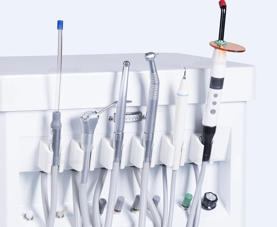 GREELOY Dental Delivery Unit Mobile Cart Self-contained Air Compressor+ Scaler+ LED Curing Light