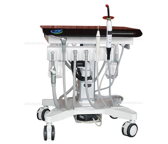 Greeloy Portable Dental Unit Cart GU-P302 with Air Compressor GU-P300+ Curing Light+ Scaler Handpiece