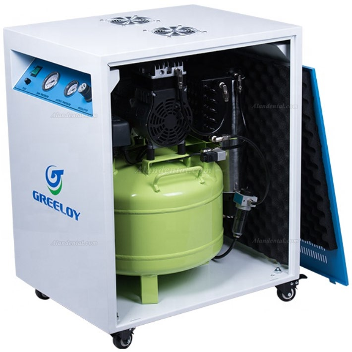 Greeloy® GA-81X Dental Oilless Air Compressor With Drier and Silent Cabinet