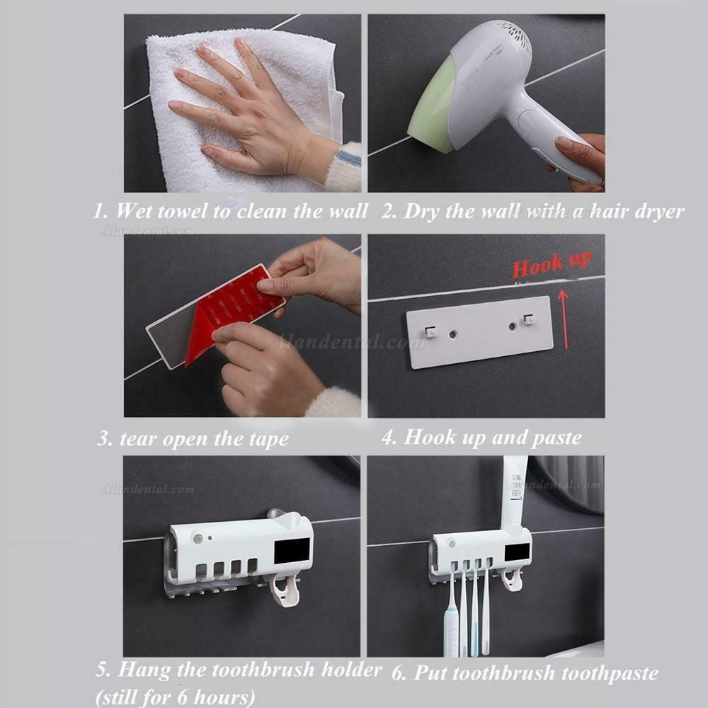 Solar Energy UV Toothbrush Disinfectant Cleaning Agent Storage Bathroom No Need To Charge Toothpaste Dispenser Holder Sanitizer